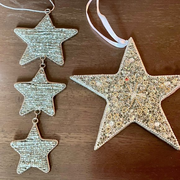 2 Glass Beads Star Shaped Ornaments